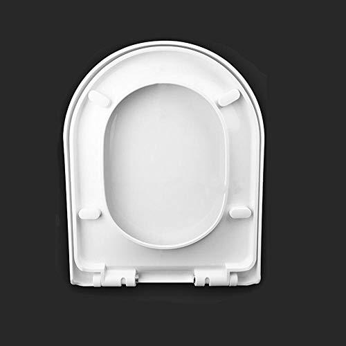 Tapa de WC, Asiento de inodoro, asiento de inodoro con cierre suave y lento, bisagras ajustables de fijación inferior, antibacteriano, para baño familiar-Base redonda en forma de U