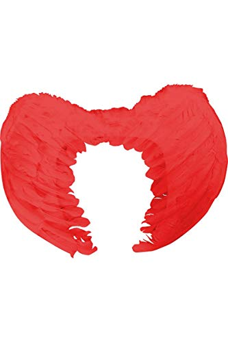 Aptafêtes - AC0055/ROUGE - Paire d'ailes plumes rouges 50x35 cm