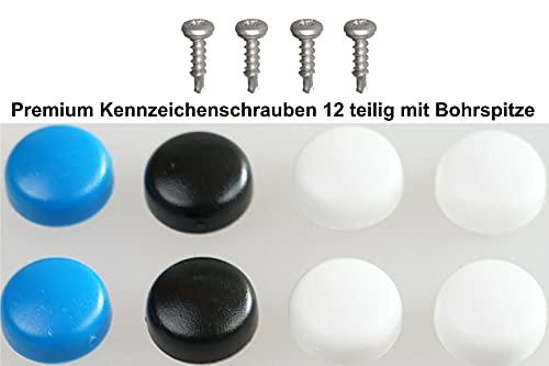Top Set de tornillos para matrícula con punta de taladro/con tapas, juego completo de 12 piezas