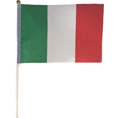 Pack de 12mini banderas banderas de Italia Banderas nacionales mano plástico Varillas 21x 14c