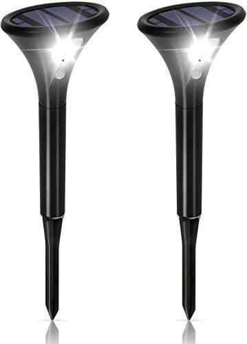 Solarlampe für Außen, Solarleuchten Garten Sehr Hell mit Bewegungsmelder [2 Stück], 2 Modi IP65 Wasserdicht Auto ein/aus Solar Strahler für Außen Garten, Hof, Pfad (Weißes)