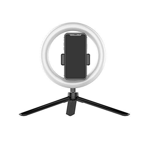 Anillo de luz LED de 8 Pulgadas con Soporte para trípode y Soporte para teléfono, Kit Regulable para grabación de Video en Youtube, Maquillaje, Selfie, fotografía, transmisión en Vivo