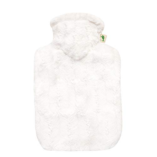 Hot Water Bottle with Cover - Hot Cold Pack Made of Burst Resistant Thermoplastic with Fleece Sleeve Helps Relieve Muscle Aches & Pains, Menstrual Cramps (1.8 L Faux Fur, White)