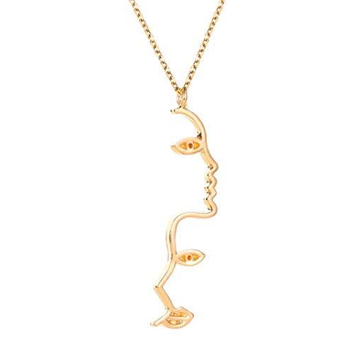 #N/A Collar con colgante de retrato con cadena de clavícula, collar creativo y simple, joyería de regalos exquisito, gargantilla de oro KC
