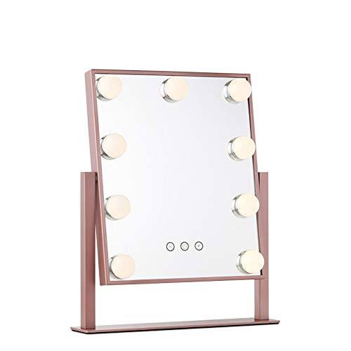 My Comfort Living Vanity Makeup Mirror with Hollywood Lights - LED Lighted Make Up Vanity for Cosmetics - Professional Tabletop Beauty Mirror - Rose Gold