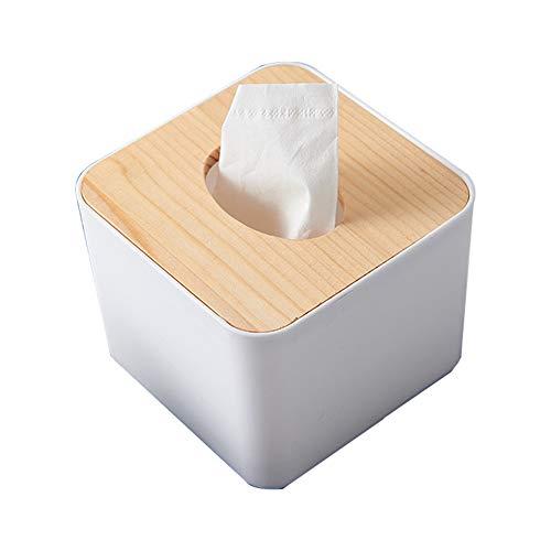 Suneast Caja de pañuelos de madera y plástico, funda para servilletas Kleenex, dispensador de pañuelos faciales para decoración del hogar, oficina, coche, cuadrada, Wood Cover, cuadrado