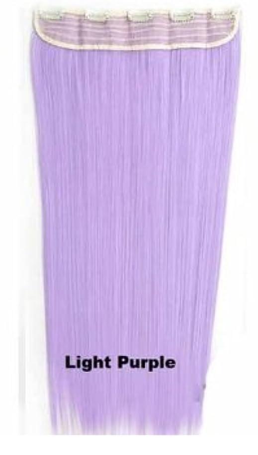 画像動力学出会いBOBIDYEE 60センチメートル/ 150グラム5クリップヘアエクステンションワンピースロングストレートコスプレかつら複数の色のオプション付き合成毛レースのかつらロールプレイングかつら (色 : Light purple)