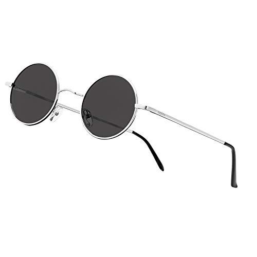 NIEEPA John Lennon Vintage Round Polarized Hippie Sunglasses Small Circle Sun Glasses (Grey Lens/Silver Frame)