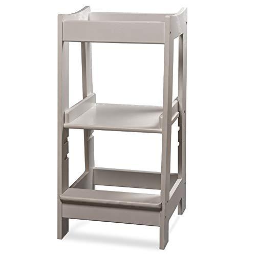 Torre de Aprendizaje Montessori para niños con altura ajustable y barra de seguridad (madera maciza) blanco blanco