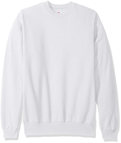 Hanes Men's EcoSmart Fleece Sweatshirt, White, Medium