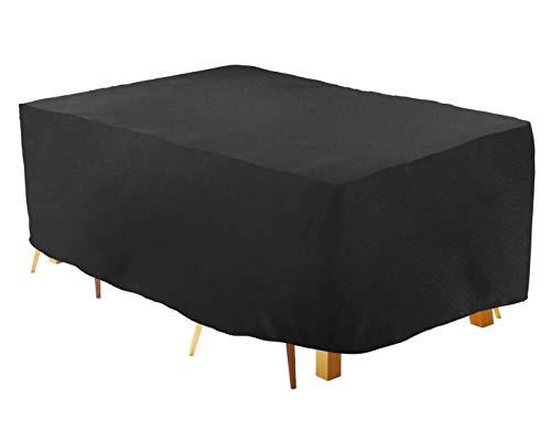 HYISHION Fundas para Muebles de Jardin Funda Mesa Exterior Impermeable 420D Oxford Funda Mesa Jardin Cubierta Protectora Anti-UV,Negro,120 * 120 * 74cm