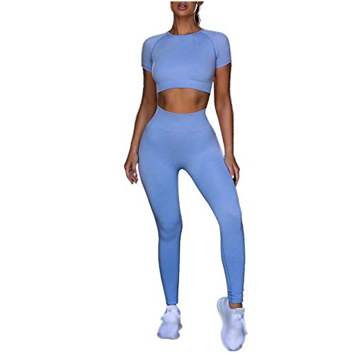 HOUWENJ MS Pants Pantalones Sin Fisuras Traje De Yoga Sujetador Bra High Cintura Deportiva Pantalones De Yoga Pantalones De Entrenamiento Blue-M