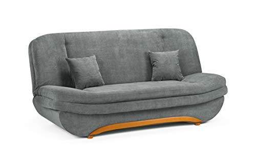 Honeypot - Sofa - Weronika - Storage Sofa Bed - 2 Seater - Footstool - Grey Fabric (2 Seater)