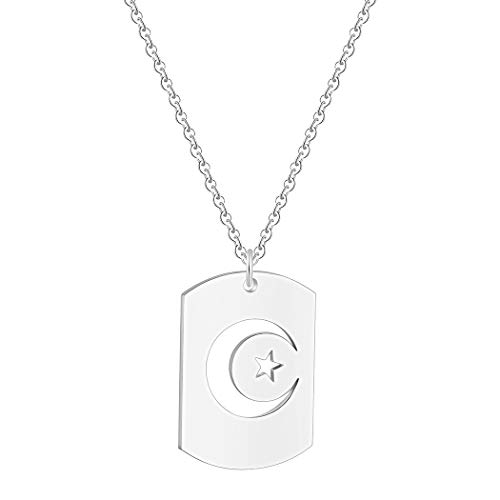 Crescent Moon Star Outline Neckless Men Stainless Steel Night Sky Islamic Muslim Jewelry Dog Tag Pendant Necklace Women