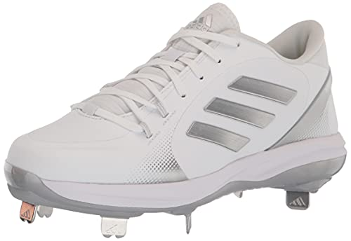 adidas Women's Purehustle 2 Baseball Shoe, White/Silver Metallic/Silver Metallic, 10