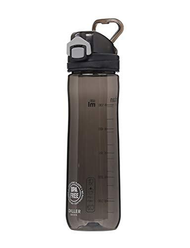LLJPFD7J Wasserflasche, auslaufsichere Weithalsflasche mit Skala, perfekt for Getränkehalter, geeignet for Campingausflüge im Freien (Color : Black)