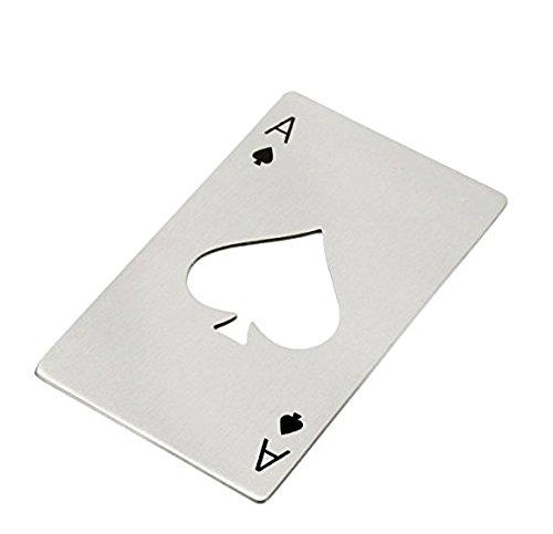 Poker Karte Pik Ass aus Edelstahl Drehverschlussöffner Flaschenöffner Soda Bier | Geschenk | Männer | Frauen | Sport | Öffner | Elegantes Geschenk