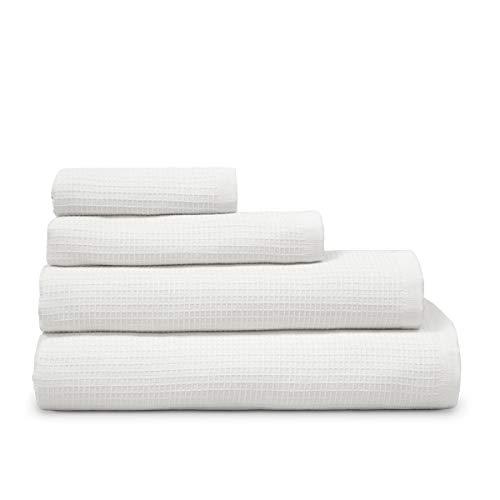 COTTON REUS Toalla Doble cara100% algodón Nido de Abeja Mod Face & Body (Blanco, Baño 100 x 150 cm)