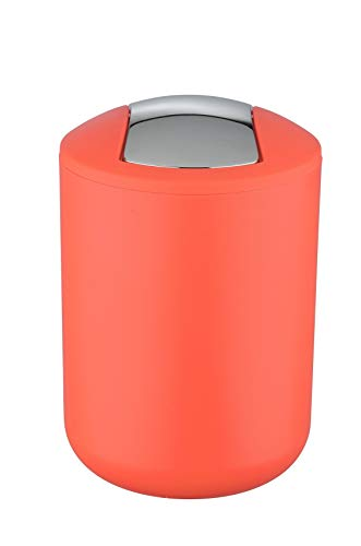 Wenko Kosmetikeimer Brasil S 2 Liter, Badezimmer-Mülleimer mit Schwingdeckel, kleiner Abfalleimer aus bruchsicherem Kunststoff, Ø 14 x 21 cm, koralle