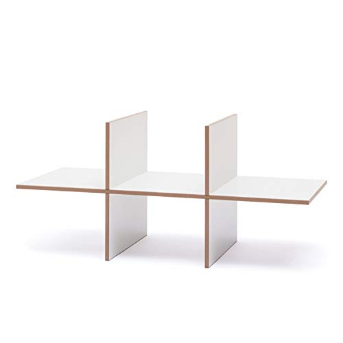 Tojo Hochstapler I Einsatz Modul mit 6 Fächern für modulares Regalsystem I Individuelles Wandregal, Bücherregal, CD Regal I Erweiterung für MDF Regal I Farbe Weiß