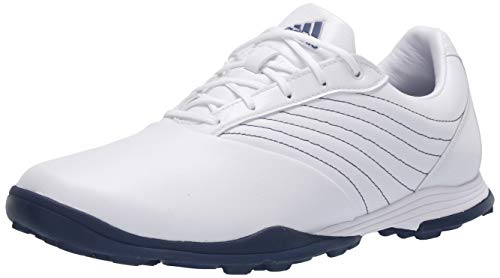 adidas Women's W Adipure DC2 Golf Shoe, FTWR White/Tech Indigo/Silver Metallic, 7 Medium US