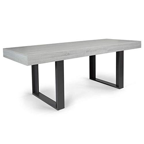 IDMarket - Table à Manger Extensible Phoenix 6-10 Personnes Bois Gris 160-200 cm