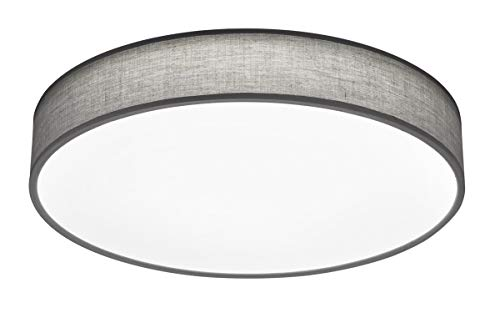 Trio Lighting - Plafón decorativo moderno Lugano, LED integrado 80% ahorro de energía, Material Tela, Color Gris