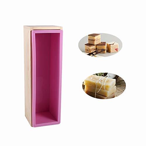 Zetiling Kuchenformen, Flexible rechteckige Seifen-Silikon-Form mit Holzkasten für selbst gemachtes 3,3-Pfund-Seifen-Erzeugnis