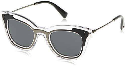 Valentino 0VA4030 507087 49 Gafas de sol, Negro (Trasp/Ruthenium Matte Black/Darkgrey), Mujer