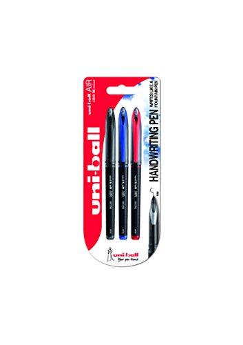 Penna rollerball UB-188-Micro Air, inchiostro nero/blu/rosso Super Ink, a prova di manomissione, pennino per penna stilografica, confezione da 3 pezzi