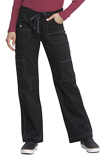 Dickies Women's GenFlex Cargo Scrubs Pant, Black, Medium