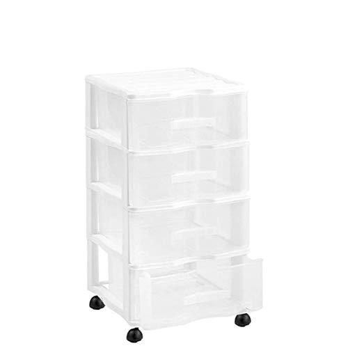 Cajonera Wagon 4 cajones con Ruedas en Color Blanco 64 x 38 x 39 cm
