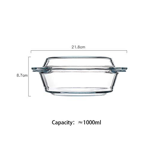 Soepkom, magnetrondekglas, transparante glazen kom van het huishouden, grote capaciteit, hittebestendige glazen kom kan in de magnetronkoelkast worden gebruikt
