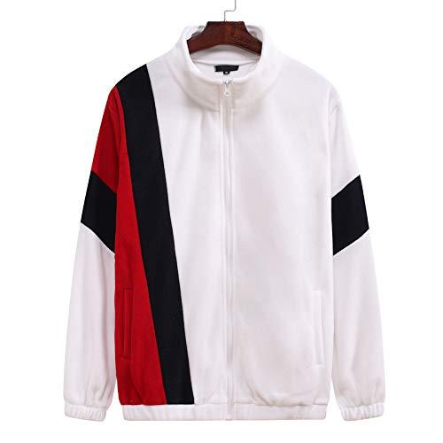 Chaqueta de Hombre Costura Color de Contraste Cuello Alto Cremallera Cárdigan Deportivo Informal Suelto y cómodo Tops 3X-Large