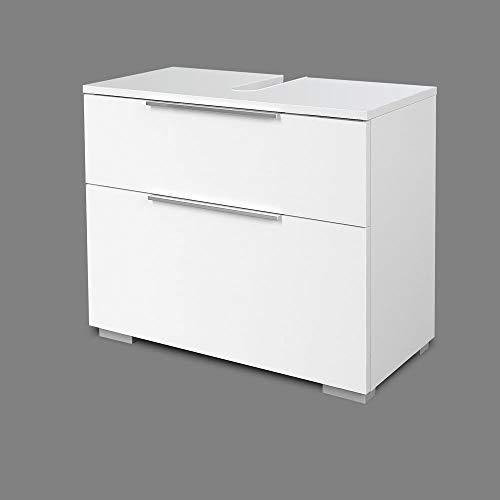 Homedesign MK Waschbecken-Unterschrank W 3D Weiß Hochglanz Waschbeckenschrank WBU Bad Schrank
