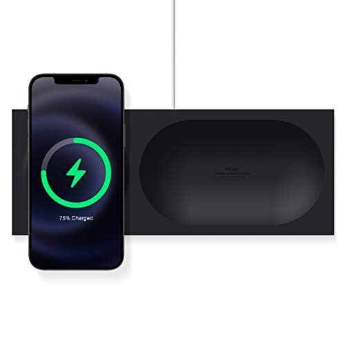 elago Charging Tray Compatible with MagSafe Charger - Magnetic Wireless Charger Tray, Compatible with iPhone 12, Pro, Pro Max, Mini and other wireless charging phones [Magsafe Not Included] (Black)