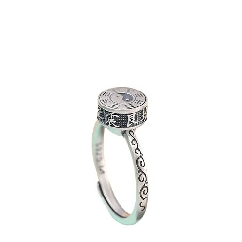 JONJUMP Taoism 8 Trigramm drehbare Ringe für Männer und Frauen, Unisex, Glücksbringer, Schmuck, Thai-Silber, rotierender offener Ring, 925er Silber