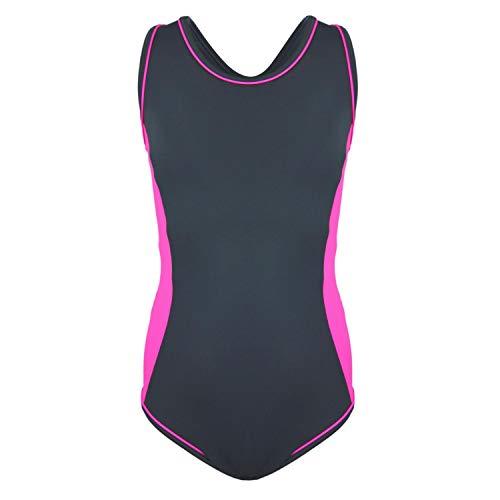 Aquarti Mädchen Badeanzug mit Racerback Sportlich, Farbe: Grau/Pink, Größe: 134