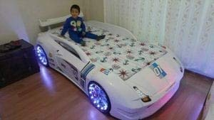 Carbed shop 3ft White M7 Car Bed With LED Lights & Spoiler
