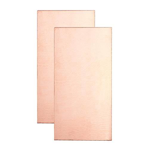 BENECREAT 2 feuilles de cuivre pur à 99% tôle de cuivre 200mmx100mmx1mm plaque de cuivre rectangle attachée à une seule couche pour la coupe mécanique, l'usinage de précision, la fabrication de moules