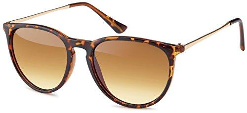 Vintage Sonnenbrille im angesagtem 60er Style mit trendigen bronzefarbenden Metallbügeln Brillentrends (leopardenmuster_Verlaufsglas)
