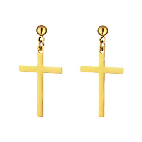 Fenical 1 paar Unisex roestvrij stalen oorbellen kruis Dangle Studs oorbellen piercing sieraden voor mannen en vrouwen (goud)