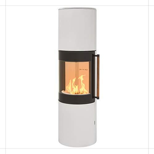 H&M MONO XL 3.0 runder Kamin-Ofen in Stahl Weiß moderne 160° Sichtscheibe Reeling-Griff Holz-Fach mit separater Tür 7kw 164cm Höhe innovatives Design