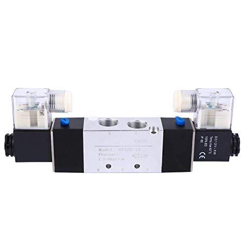 WHEEJE Válvula solenoide eléctrica, 4V320-10 3/8'Outlet de entrada de 3/4' 1/4'Válvula de aire solenoide de escape 2 Posición 5 Controlador de fluidos de puerto para sistema neumático (DC12V)