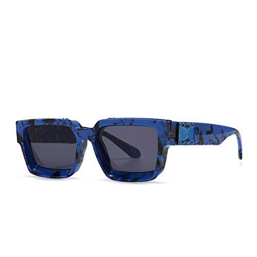 XIMAO Modelo Retro Street Shooting Gafas De Sol Patrón Con Incrustaciones Marco De Metal Moderno Diseño De Personalidad Gafas Azul