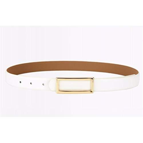 LIUXINDA-YD Damengürtel einfache Modedekoration mit Rockanzugjeansgürtel, 105cm, Goldschnalle weiß