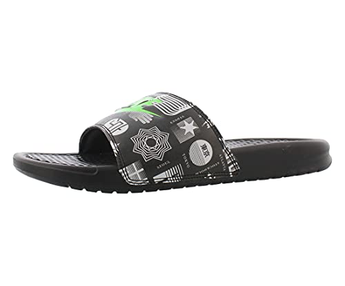 Nike Herren Benassi JDI Print Slide Sandal, Black/Green Strike-Black-White, 47.5 EU