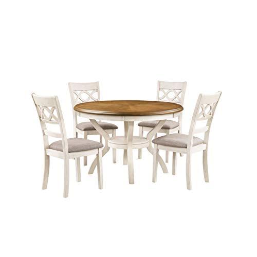 New Classic Furniture Cori 5-Piece Round Dining Table Set, Bisque