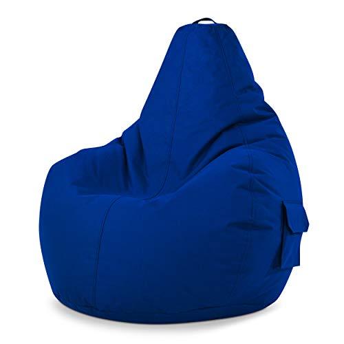 Green Bean © Cozy Beanbag, Gaming Sitzsack Sessel 80x70x90 cm, 230 Liter EPS Perlen Füllung, Indoor Gamingstuhl & Outdoor Gamer Sitzkissen, Bean Bag Lounge Chair für Kinder & Erwachsene, Blau
