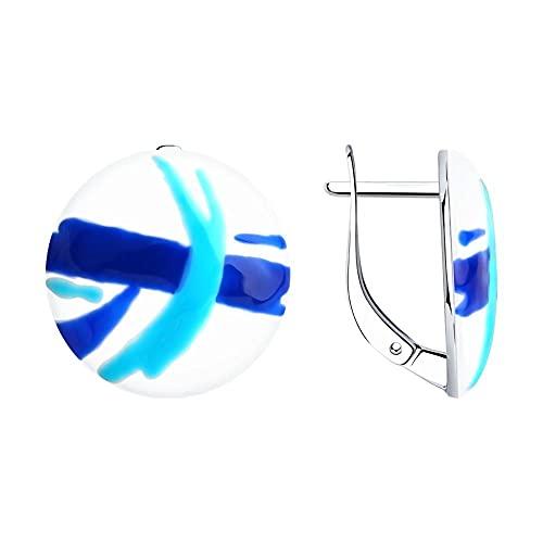 Mirkada - Pendientes de plata con esmalte azul y blanco
